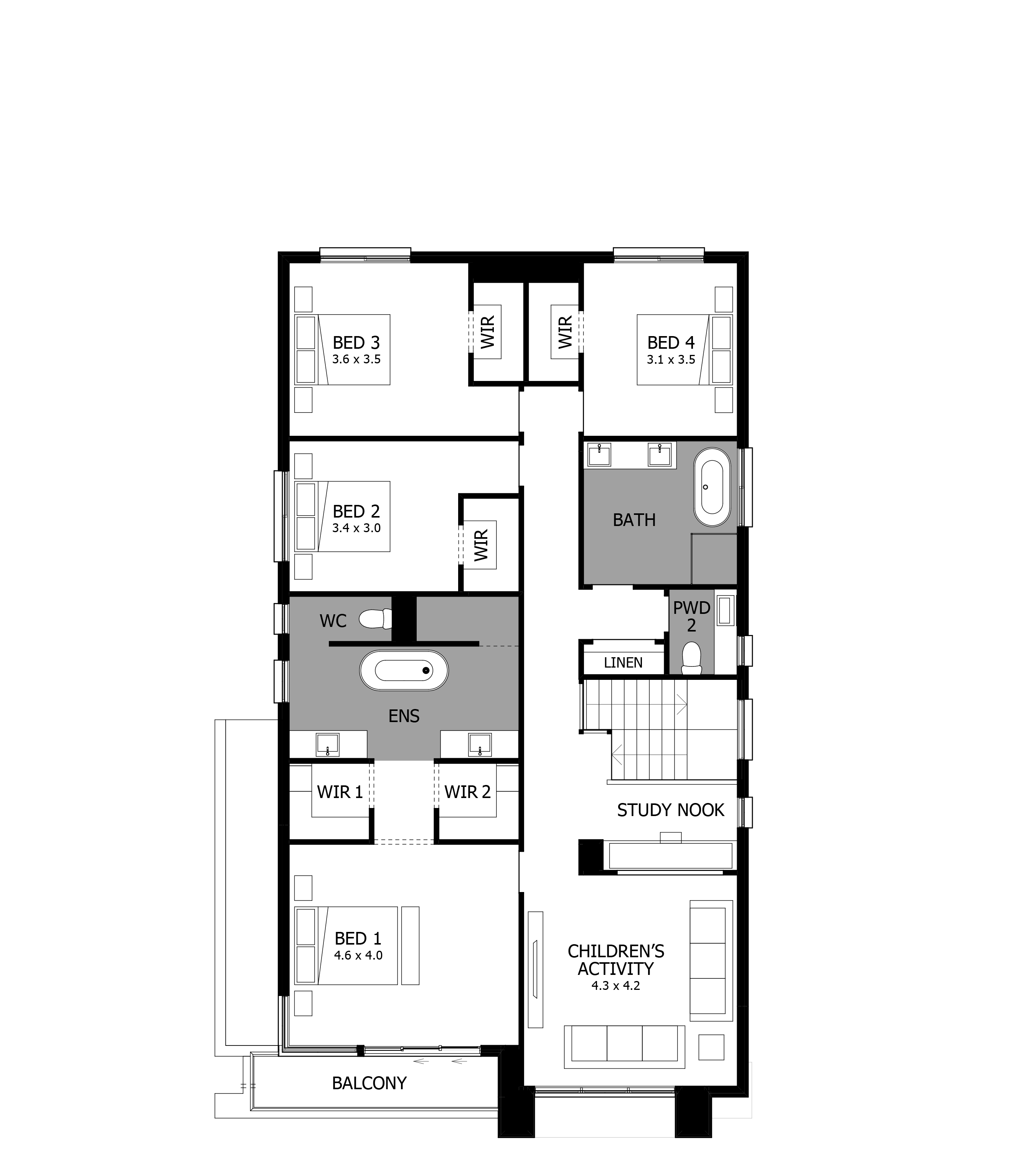 Nautica 36 HomeWorld Warnervale Second Floor Floorplan