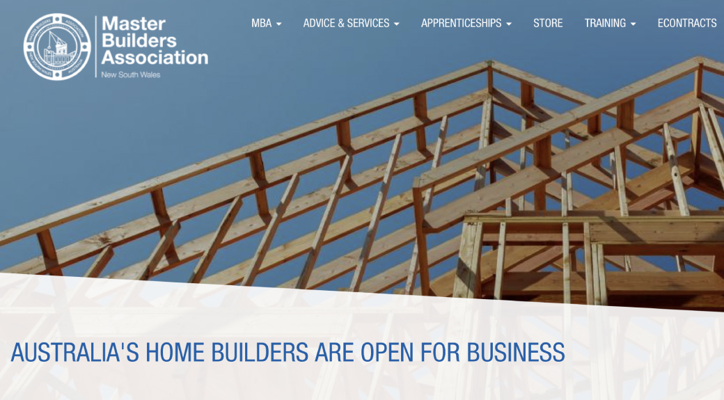 A message from the Master Builders Association